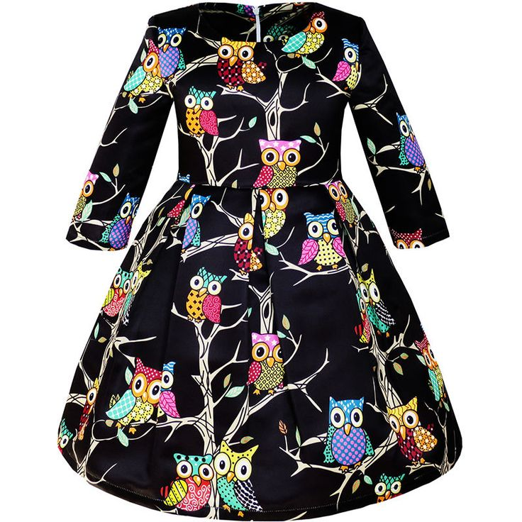 Girls Dress Fit-and-flare Owl Print Party Long Sleeve Cute Size 4-14 #SunnyFashion #DressyEverydayHolidayPageantPartyProm