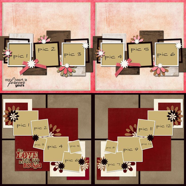 4 Premade Scrapbook Pages - Family Pack 3 - Scrap 4 Hire