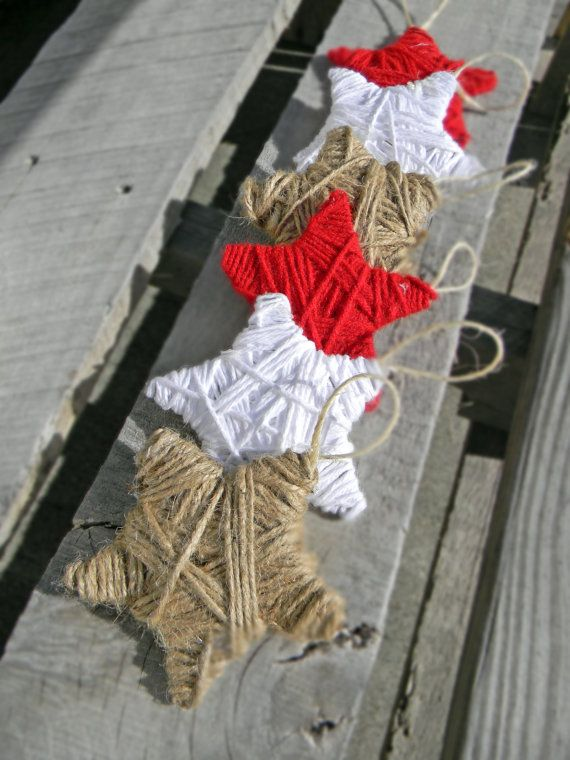 Add a beautiful rustic touch to your Tree this Holiday season. Yarn Stars are made from a cardboard base and then wrapped with yarn by hand.