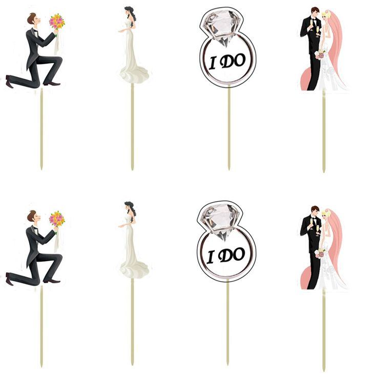 Groom & Bride Cupcake Topper Pick Wedding Party Decoration 72 Pcs - Wedding Look