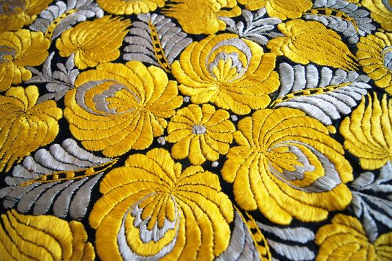 embroidery 1920's Hungarian silk Matyo HandMade Round Tablecloth antique stitched Triangle flowers golden yellow gray threads FREE shipping