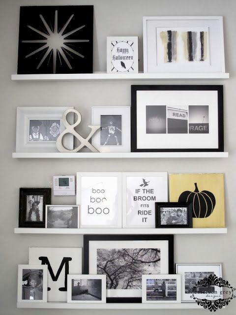 Halloween decor {changing up my photo wall}, styling shelves and changing them for each holiday, halloween printable, black and white photo wall