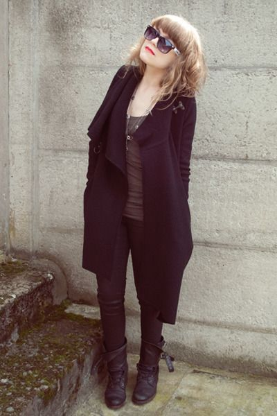 """Black Wool Allsaints Coats   """"caught up in the heartless disorder. """" by VickyViolet   Chictopia"""