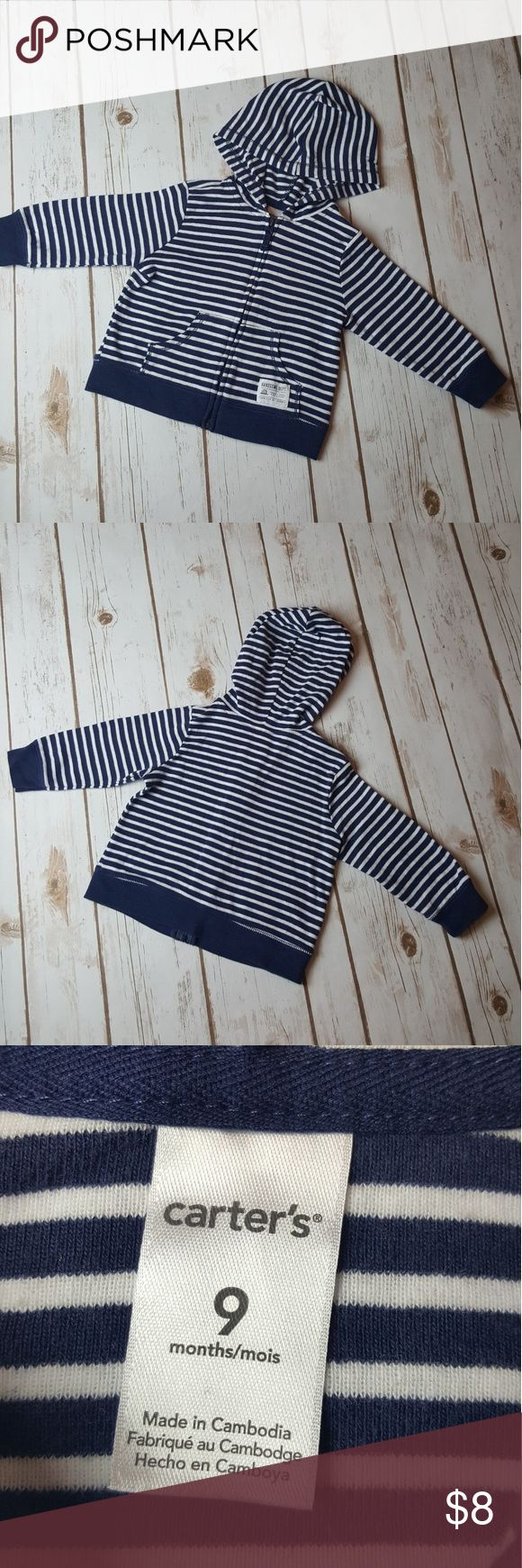 BUNDLE Carter's Jacket and pants 9M Navy blue and white striped zip up jacket with hood. 9M  2 Carter's Pants 9 Months 1 - Navy Blue 1- Navy blue & white striped Carter's Matching Sets