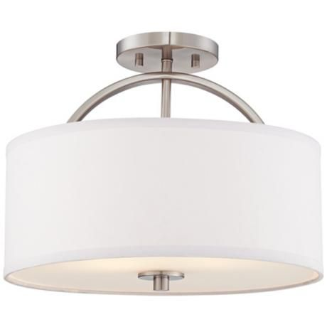 "Brushed Nickel Finish Semi-Flush 15"" Wide Ceiling Light from Lamps Plus ... wonder if I could put this in my bathroom ..."