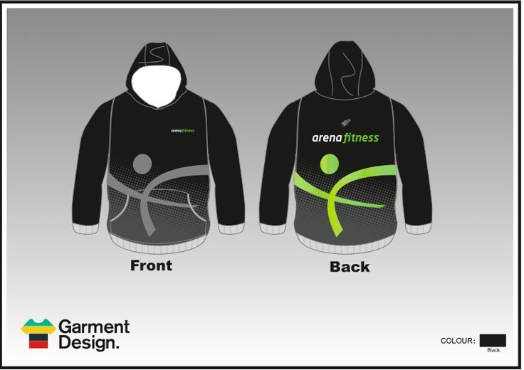 We can custom make any design for you, or can put your design onto any garment, this i for Arena Fitness