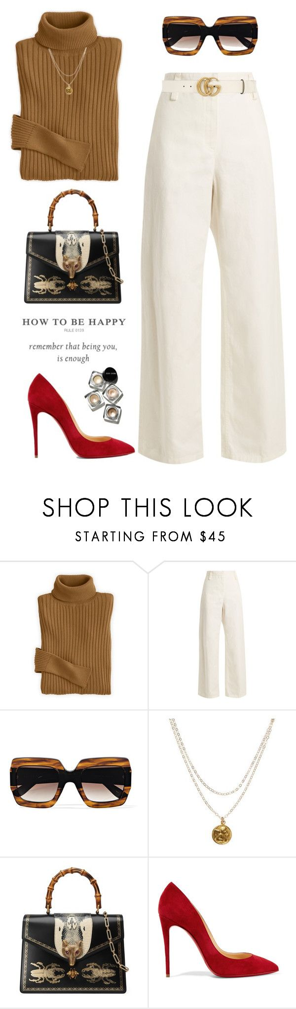 """""""Be happy!"""" by yexyka ❤ liked on Polyvore featuring The Row, Gucci, Mary Louise Designs, Christian Louboutin, Bobbi Brown Cosmetics, contestentry and polyPresents"""