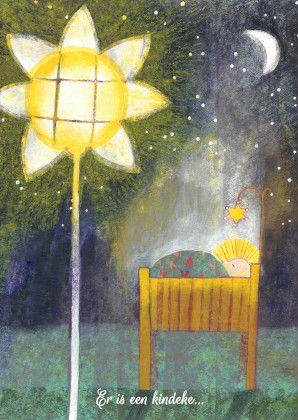 Sfeervolle kerstkaart kindje in kribbe. Illustratie met grote kerstster, zon, maan en licht. Lief en originele kaart  van Zus&ik