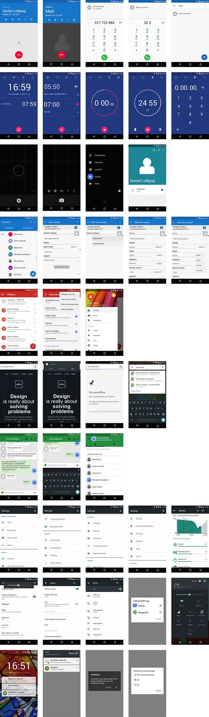 UXPin Android Lollipop UI Kit Preview