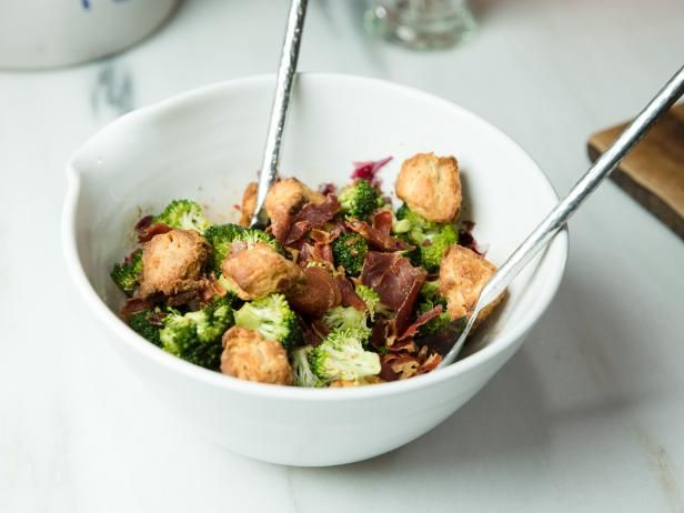 Get Broccoli Salad with Baked Croutons Recipe from Food Network