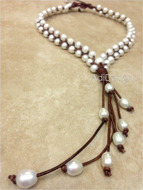 De cuero y collar de perlas de agua dulce MaLee por AdiDesigns
