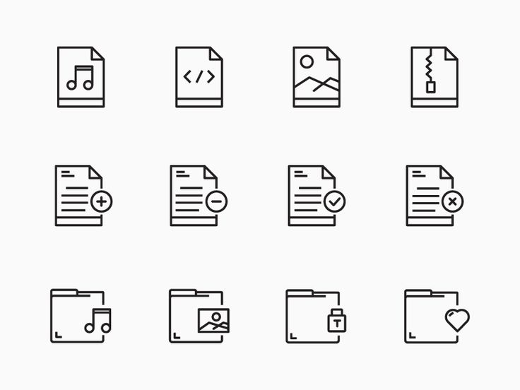 Daily Icon # 03 Outline Icon Design - Files & Folder Icons