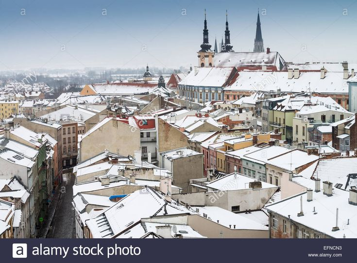 aerial view of town Olomouc in winter, North Moravia, Czech Stock ...