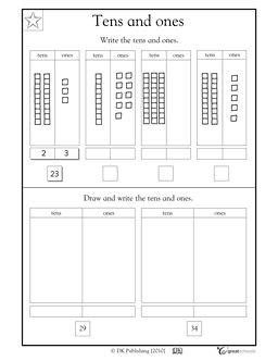Here's a page on 10s and 1s. Students practice counting and drawing base 10 blocks to help visualize place value.