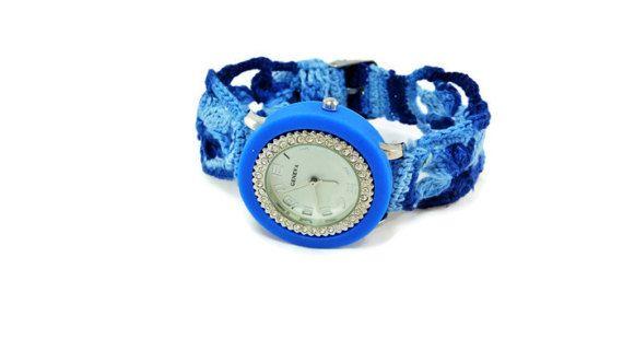 Watch  Blue Watch  Blue crochet bracelet  by HarmonyHourWatches
