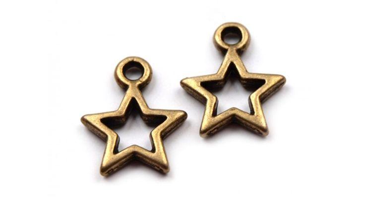 Csillag formájú fém fityegő csomag - réz - Dekorációs kiegészítők - Gombolda Webáruház