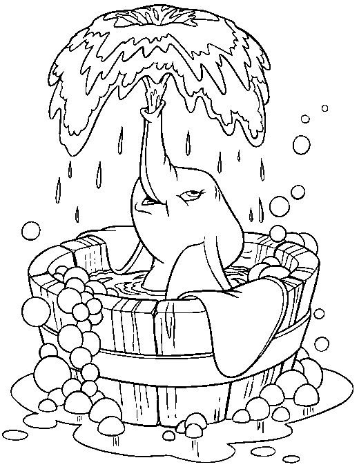 elephant bath disney coloring pageskids - Drawings For Kids To Color