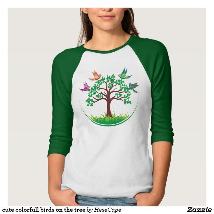 cute colorfull birds on the tree tshirt