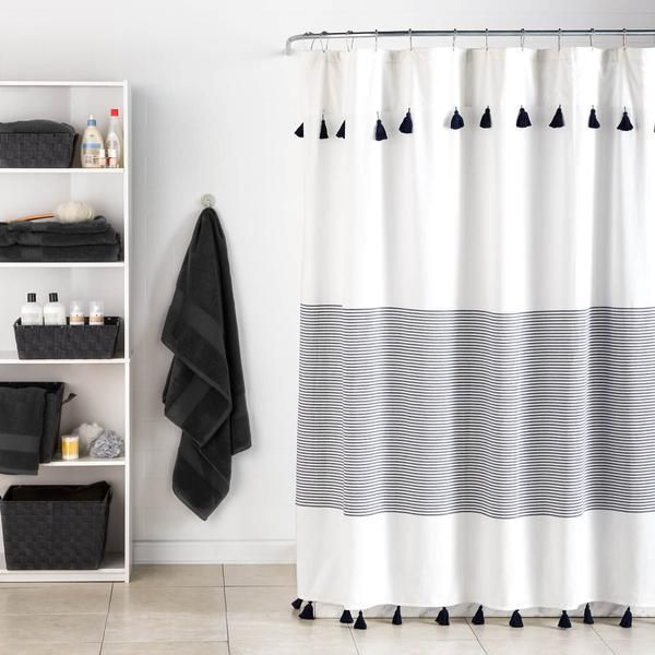 Curtain Couture Minimal And Stylish This Panama Stripe Shower