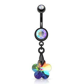 Black PVD Surgical Steel Crystal Ray Prism Flower Navel Ring – Pierce of Mind