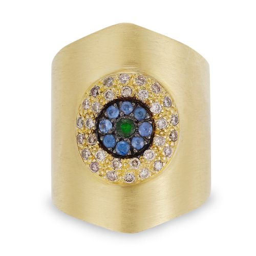 """""""Round Eye Shield Ring"""",18K Yellow Gold Ring With Champagne Diamonds, Blue Sapphires And Tsavorites, Oxidized On The Stones"""
