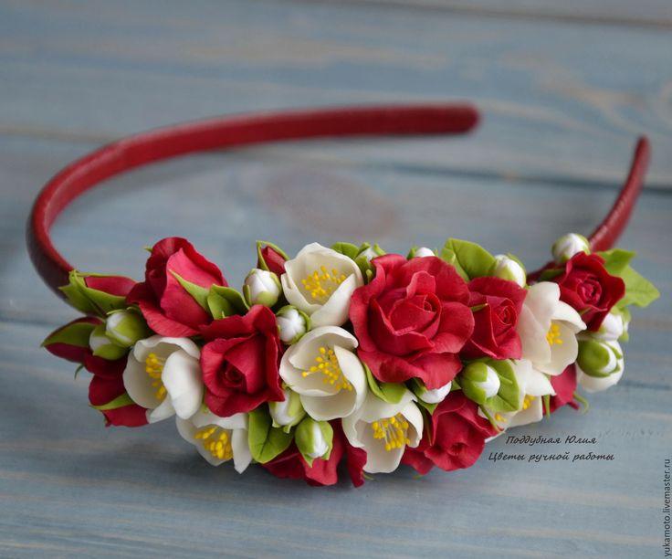 Купить Малиновый пунш - обруч с цветами - фуксия, малиновый, малиновые розочки, обруч с малиновыми розами