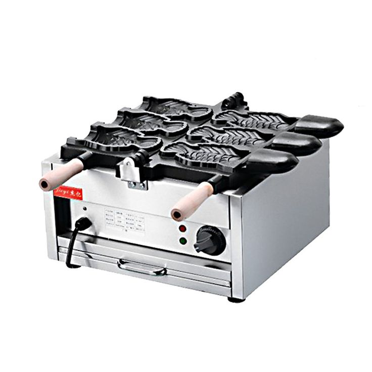 110V 220V Open Sea Bream 3pcs Fish Cake Machine  Baked Fish-Shaped Bread Commercial Waffle Maker Non-stick Waffle Bread Machine