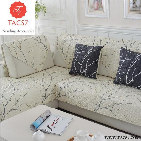 1 Piece Cotton Sofa Cover White Plant