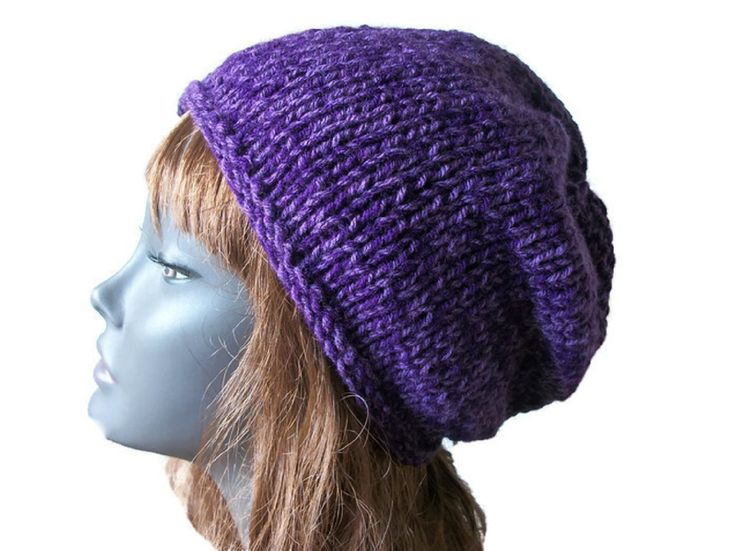 Purple Beanie Hat, Chunky - Hand Knitted, £17.99