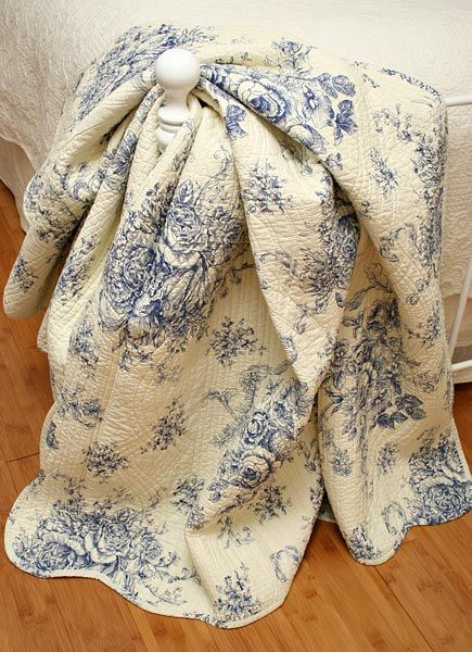 Ballard French Country Blue Toile Quilt Throw For The Home Pinterest And
