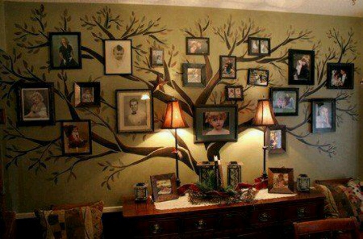 Painted tree on wall with family  portraits