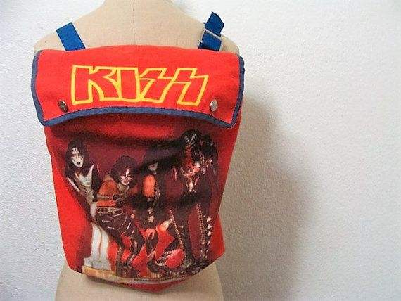 Vintage KISS Kiss Backpack Aucoin 1977 Thermos by MoonulaVintage