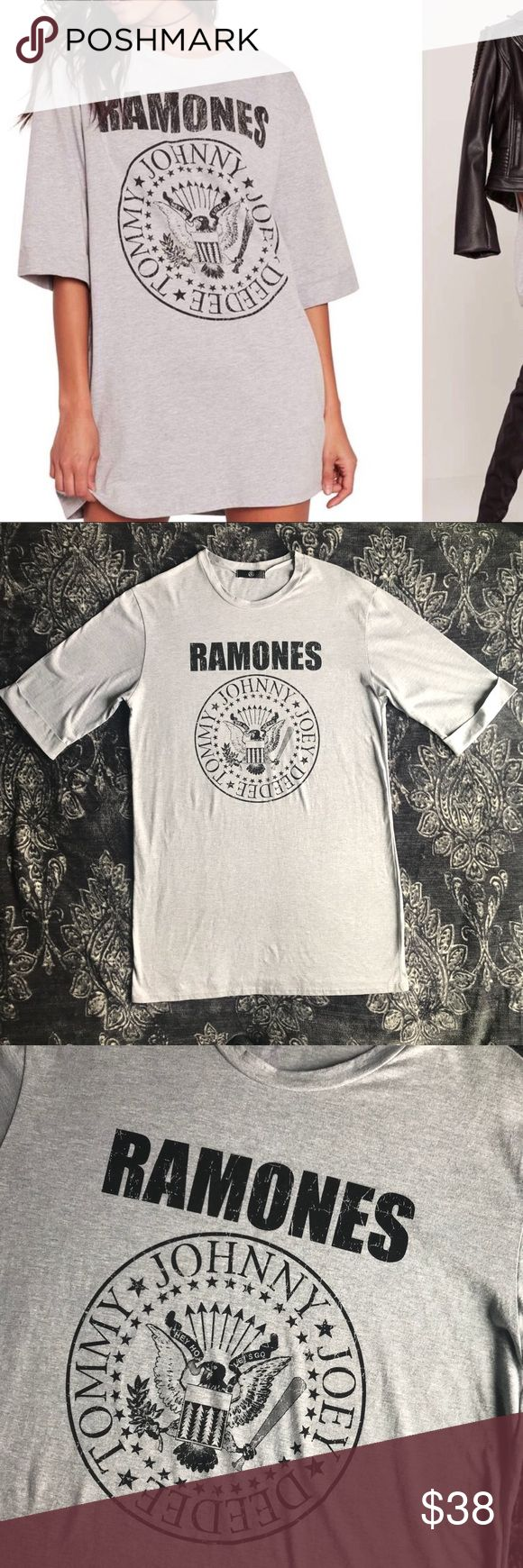 Missguided Grey Ramones T-Shirt Dress US Size 4 New without tag. Inner materials and size tag has been cut out. I've sold one of these before and the measurements are the same therefore I am able to say this is a US Size 4. Grey t-shirt dress with cracked Ramones graphic, crewneck and cuffed elbow sleeves.   Approximate measurements: 33 inch length, 21 inches wide from pit to pit while laying flat. Missguided Dresses