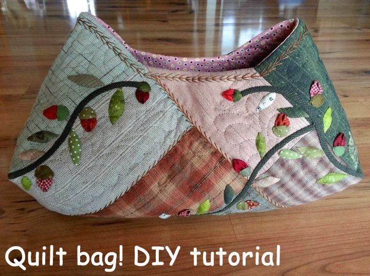 Quilt bag, dress with applique flower another view Quilt bag! Pattern.  DIY tutorial. Сумка  в стиле пэчворк-квилт. http://www.handmadiya.com/2015/08/quilt-bag-tutorial.html