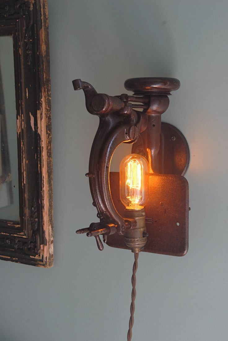 Vintage industrial sewing machines made into wall sconces. & 397 best Rustic Lighting images on Pinterest | Lighting ideas ... azcodes.com