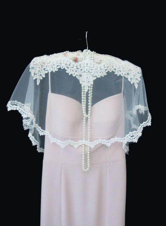 Wedding Bolero Ivory Lace Bridal Cape Shawl Lace Shrug Wedding Wrap Scalloped Edge on Etsy, $45.00