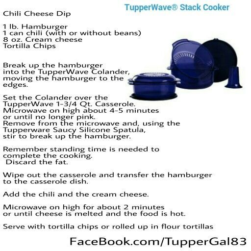 Tupperware Stack Cooker Recipes Chili Cheese Dip