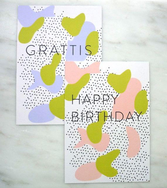 Set of 2 cards  Happy Birthday and Grattis by AlvisPaperMarket