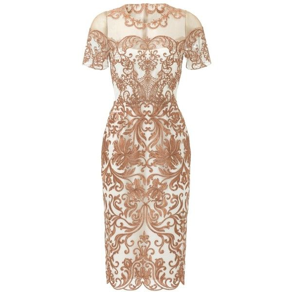 Rental Marchesa Notte Metallic Jaipur Sheath (490 MYR) ❤ liked on Polyvore featuring dresses, short sleeve dress, notte by marchesa dresses, short sleeve sheath dress, short-sleeve dresses and beige sheath dress
