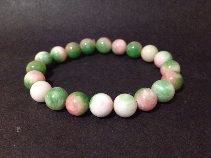 Pre Owned Agate 1cm Beads Bracelet - Green, White and Pink - 18cm long