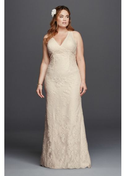 V-Neck Plus Size Wedding Dress with Empire Waist 9KP3803