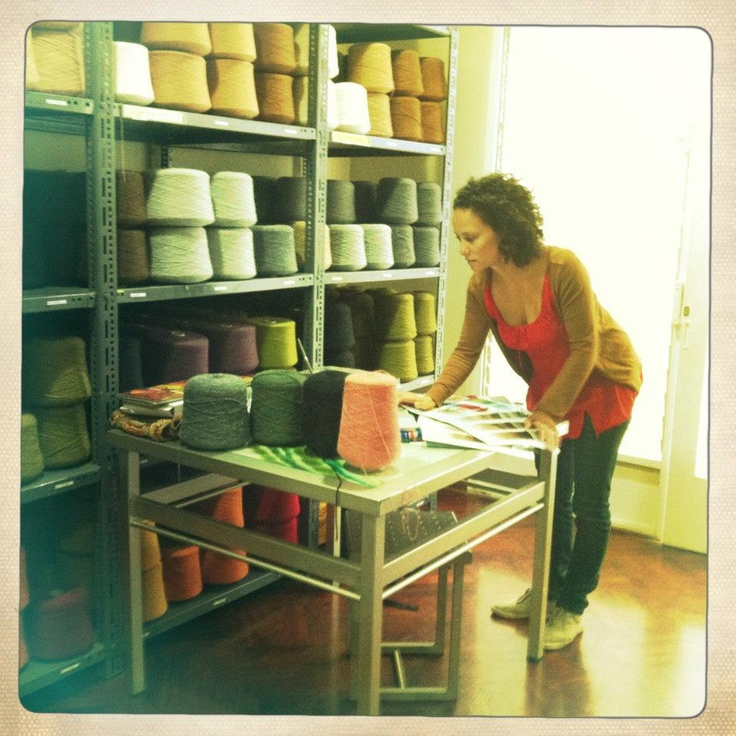 Saskia Van Erven researching colors of alpaca wool for new collection!