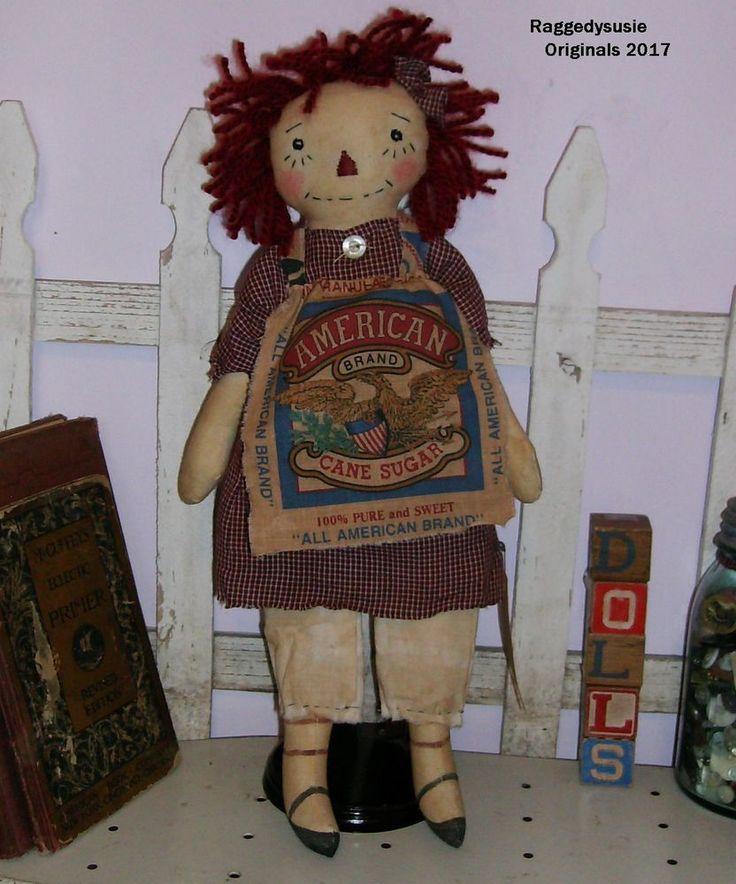 Primitive Raggedy Ann Doll Americana w FLAG ornie homespun ANNIE feed sack #NaivePrimitive #Newlymadeprimitivedoll