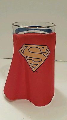 Drinking Glass Pint Size Cup Superman Fabric Cape Tavern Bar Glassware Superhero