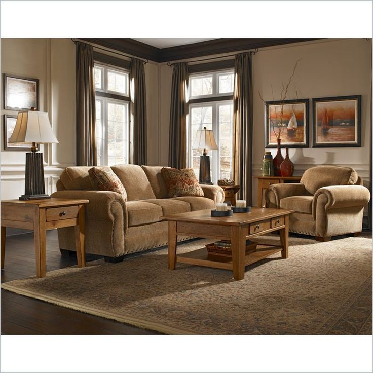 Broyhill Cambridge Three Seat Sofa and Chair Set with Attic Heirlooms Wood Stain