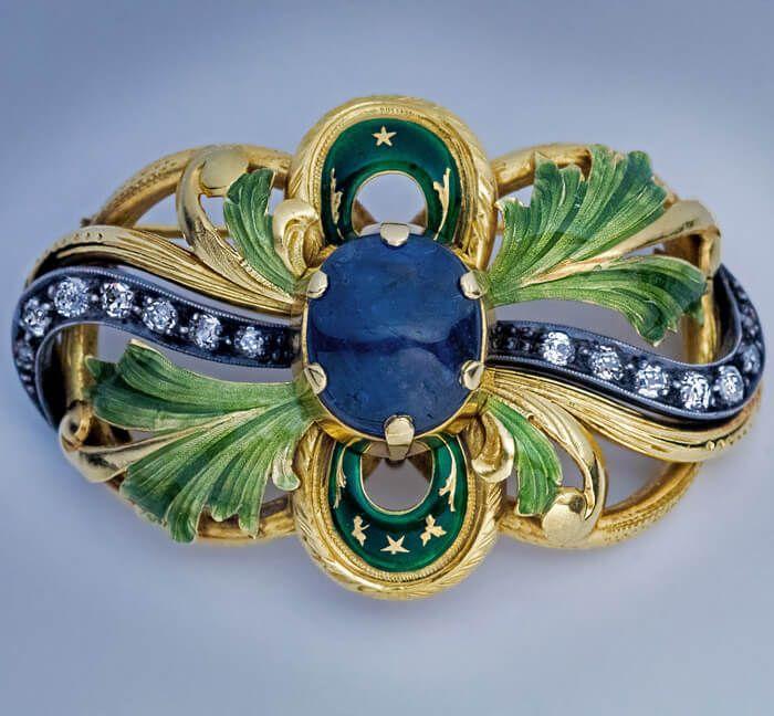 nouveau sapphire enamel gold brooch antique
