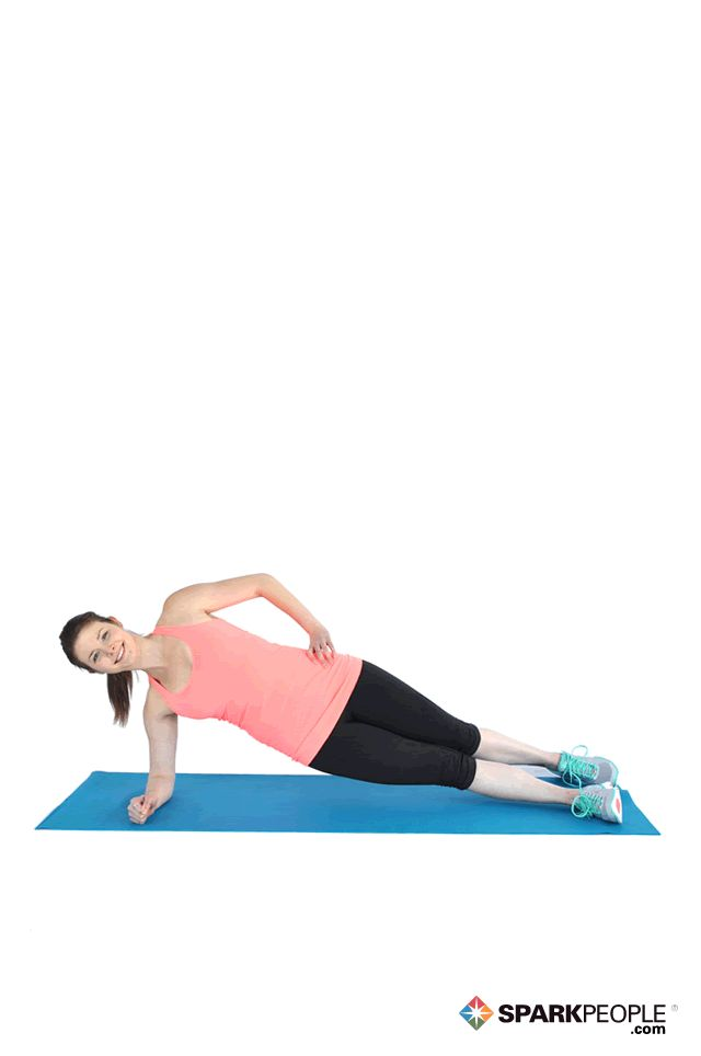Modified Side Plank Exercise  Starting Position Lie on left side, legs together, feet stacked. Wrap right arm around waist. Keep head and neck aligned with spine.  Action Prop upper body on bent left forearm (be sure elbow is directly below shoulder). Press hips toward ceiling, using abs to stabilize torso. Hold for 30 seconds and work up to 1-3 minutes.  Special Instructions Be sure not to hold breath. Exercise will be easier if feet are staggered instead of stacked.