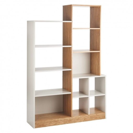 MILES Oak and linen white large tall shelving unit