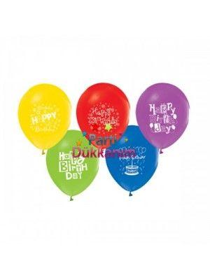 Happy Birthday Balonları (25 Adet Renkli)