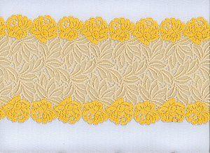 Elastisches Spitze, Pastellgelb-Sonnengold mit Rosenblüten und Blattmuster